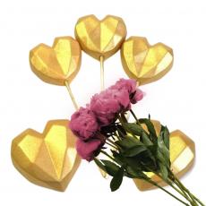 Набор сахарных топперов Сердечки оригами золото 5 шт