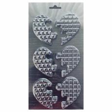 Пластиковая форма для шоколада Сердечки паззл