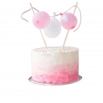 Шарики воздушные бело-розовые на торт 10 шт
