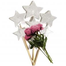 Набор сахарных топперов Звезды серебро 7 шт