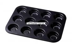 Форма для выпечки 12 кексов рифленая