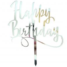 Топпер Happy Birthday зеркальный серебро ширина 12 см