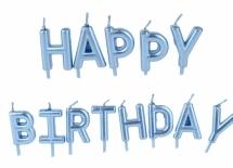 Свечки для торта Happy Birthday голубой перламутр