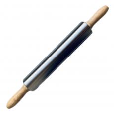 Скалка металлическая с деревянными ручками 25 см