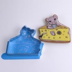 Набор каттер и контурный трафарет Мышка в сыре 11.5х11 см
