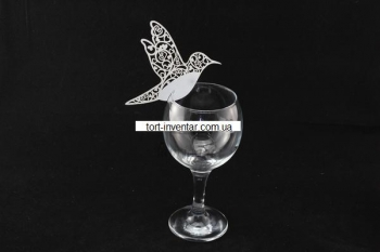 Декор на бокал колибри