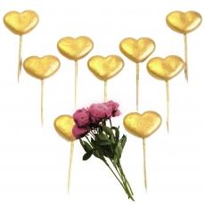 Набор сахарных топперов Сердечки золото 9 шт
