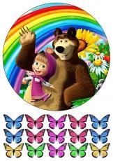 Вафельная картинка A4 Маша и Медведь 2