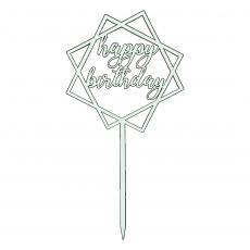 Деревянный топпер белый Happy Birthday 11 см