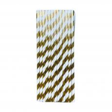 Трубочки бумажные Белые с золотой полосой 25 шт