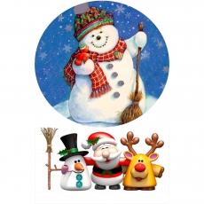 Вафельная картинка A4 Снеговик