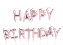 Свечки для торта Happy Birthday розовый перламутр