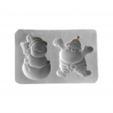 Силиконовый молд Санта клаус и Снеговик 9x6 см