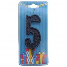 Свечка на торт цифра 5 Чёрная