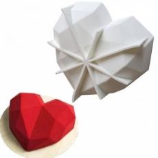 Силиконовая форма для десертов Сердце Оригами 18х5 см