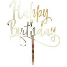 Топпер Happy Birthday зеркальный золото ширина 12 см