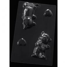 Пластиковая форма для шоколада Cake&Pie Мишка с сердцем 3D 150х240 мм
