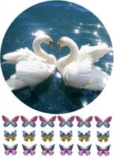 Вафельная картинка A4 Пара лебедей