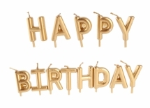 Свечки для торта Happy Birthday золото