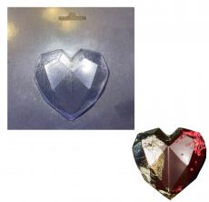 Пластиковая форма для шоколада Оригами сердце мини 6.5х6.5 см