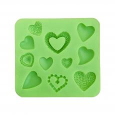 Силиконовый молд Набор сердечек 8х8.8 см