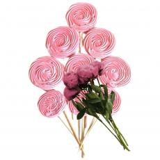 Набор сахарных топперов Спиралька розовая 9 шт