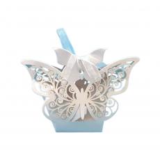Бонбоньерка Ажурная бабочка белая 90х45х85 мм 5 шт
