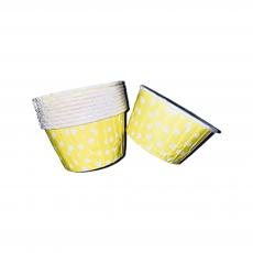 Тарталетки бумажные с бортиком  Лимонные в горошек 10 шт
