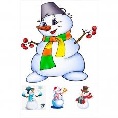 Вафельная картинка A4 Снеговик 3