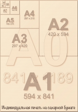 Индивидуальная печать на сахарной бумаге А1 (8 листов А4) со своим дизайном
