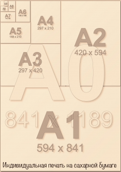 Индивидуальная печать на сахарной бумаге А3 (2 листа А4) со своим дизайном