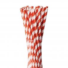 Бумажные трубочки Красные полоски 25 шт