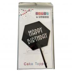 Акриловый топпер Happy Birthday чёрный 11 см