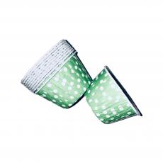 Тарталетки бумажные с бортиком  Салатовые в горошек 10 шт