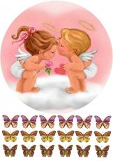 Вафельная картинка A4 Два ангелочка