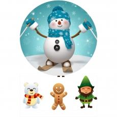 Вафельная картинка A4 Снеговик 2
