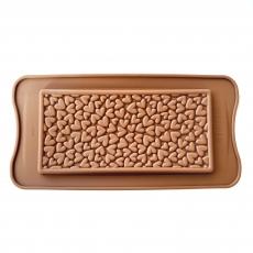 Форма силиконовая для шоколада Плитка с сердечками