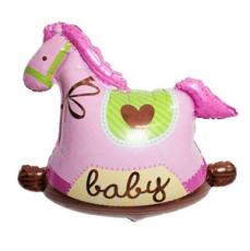 Фольгированный шар Лошадка розовая 32 см