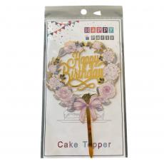 Акриловый топпер Happy Birthday цветочный 11 см