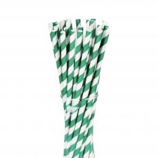 Бумажные трубочки Зеленые полоски 25 шт
