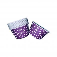 Тарталетки бумажные с бортиком Фиолетовые в горошек 10 шт