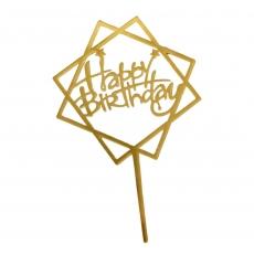 Акриловый топпер Happy Birthday золото 11 см