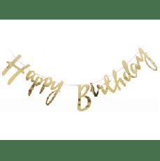 Растяжка Happy Birthday Золото