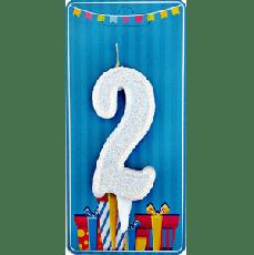 Свечка на торт цифра 2 Белая