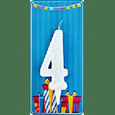 Свечка на торт цифра 4 Белая