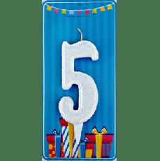Свечка на торт цифра 5 Белая