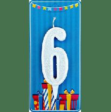 Свечка на торт цифра 6 Белая