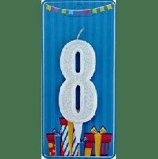 Свечка на торт цифра 8 Белая