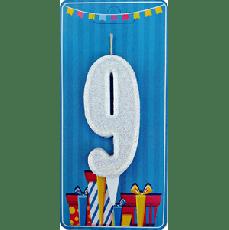 Свечка на торт цифра 9 Белая
