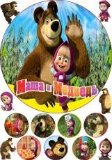Вафельная картинка A4 Маша и медведь